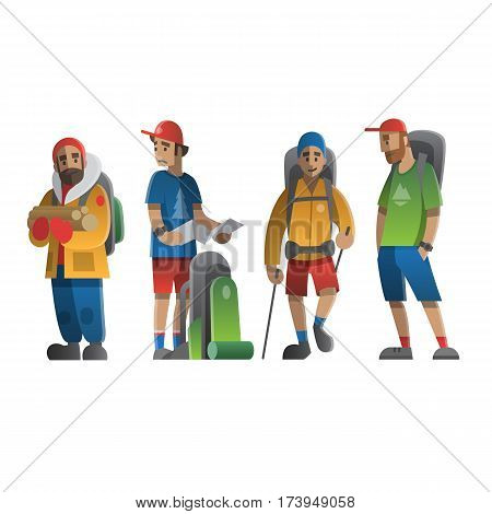 Vector illustration on the theme of hiking, backpacking, climbing, traveling, trekking, walking. Big set of hiking people. Adventure in nature outdoor recreation vacation. For postcard, banner, web.