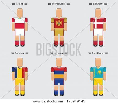 soccer (football) player flag europe uniform icon group e. poland montenegro denmark romania armenia kazakhstan. vector illustration.
