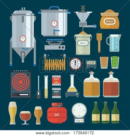 Home brewing factory production items. All you need for brew home made craft beer. Elements for home brewery. Mashing, cooling, fermentation, bottling. Creative vector collection.
