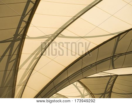 closeup under of fabric tensile roof structure