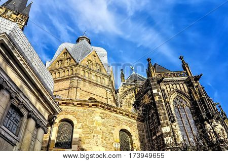 The Aachen Cathedral, also High Aachen Cathedral, or the Aachener Kaiserdom, Germany. The Aachen chapel was the church of coronation for thirty German kings and twelve queens.