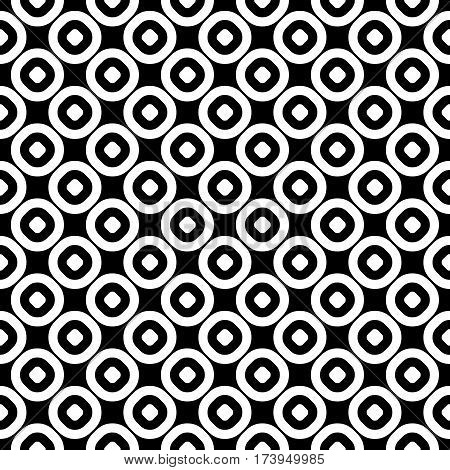 Vector seamless pattern, monochrome polka dot texture. Simple geometric background with staggered perforated circles. Black & white abstract design for decoration, textile, furniture, prints, digital