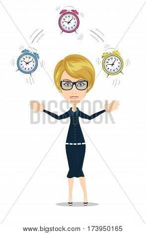 Time management concept with businesswoman. Business character with alarm clock . Isolated on white background. Stock vector illustration