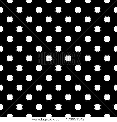 Vector monochrome seamless texture. Black & white geometric minimalist pattern, illustration with simple figures, octagons. Abstract dark repeat background. Design element for decoration, textile, fabric, cloth, digital, web