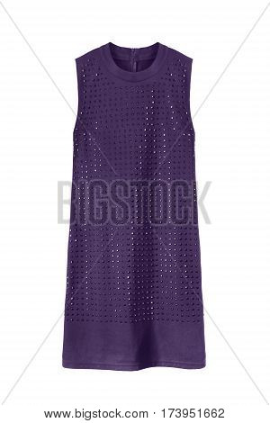 Purple sleeveless mini dress with crystals on white background