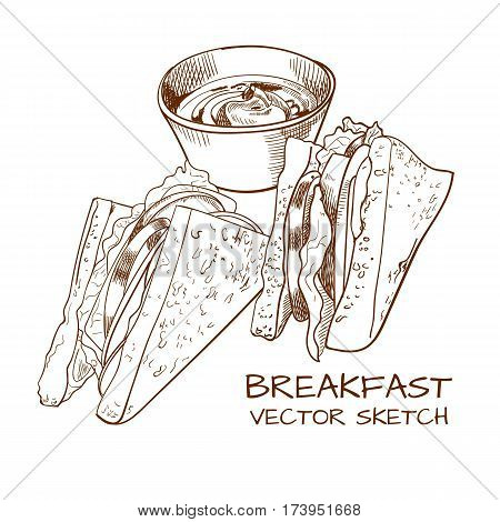 VECTOR sketched breakfast: sandwiches and sauce drawing isolated on white