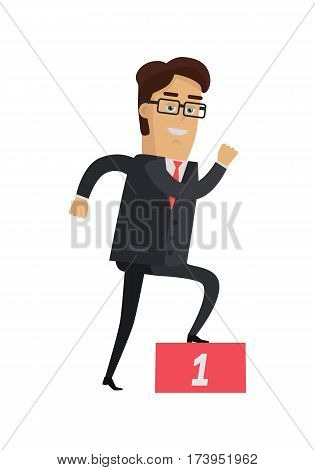 Businessman going up on the winners podium. Businessman in expensive suit and tie wins the first place. Leadership concept. Achieving best results. Smiling male. Vector illustration in flat style