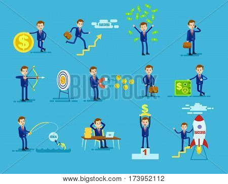 Set of businessmen achieving success. Man with money sign, money rain, speak on telephone, shot in target, magnetize riches, with suitcase, near safe deposit, rocket, catch idea, at pedestal. Vector