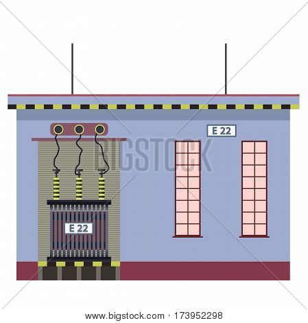 Electric transformer 2D building info graphic. Isolated high-voltage power station. Old plant architecture on white background. Pictogram industrial electricity set. Flatten isolated master vector.