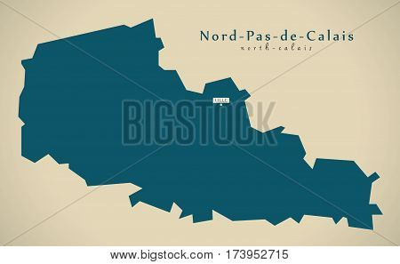 Modern Map - Nord Pas De Calais France Fr Illustration