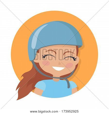 Girl with long brown hair. Biker avatar userpic. Portrait of nice female person in blue t-shirt and round helmet. Pink flush on face. Cartoon style. Girl face in circle. Flat design. Vector