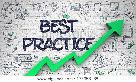 Best Practice - Line Style Illustration with Doodle Design Elements. Best Practice Inscription on Modern Style Illustration. with Green Arrow and Hand Drawn Icons Around.