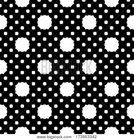 Vector seamless pattern, simple geometric texture, white figures on black backdrop, polka dot illustration with rounded octagons. Abstract repeat background for tileable print. Design for decoration, textile, fabric, cloth, digital, web
