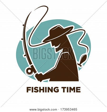 Fishing time icon for fisherman club or fishery sport resort logo template. Fisher man catching with fish rod. Vector black silhouette illustration