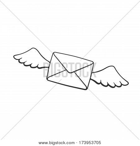 Vector illustration. Hand drawn doodle of flying closed envelope with wings. Not read incoming message. Cartoon sketch. Decoration for greeting cards posters emblems