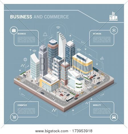 Isometric vector city with skyscrapers people streets and vehicles commercial and business area infographic with icons