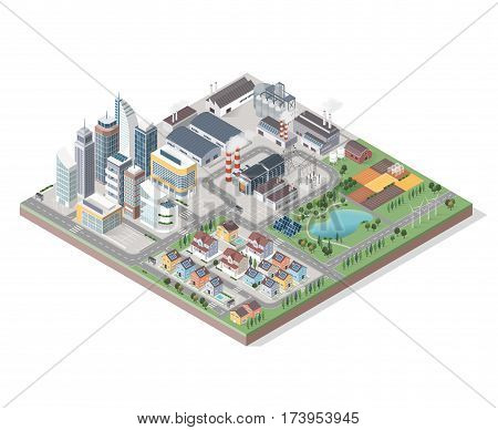 Vector isometric contemporary green city with buildings streets and plants: commercial area residential district industrial park farm and natural area