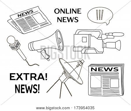 News set icon. Press conference journalistic investigation and daily news symbols flat isolated vector illustration