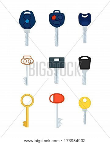 Different types of keys. Collections of pictures. Modern and antique keys. Cartoon design. Various kinds of protection. Keys made of iron, metal, steel, gold. Sales. Security. Flat style. Vector