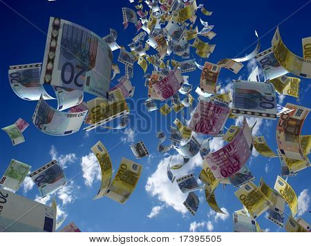 Money denominations on a background of the sky