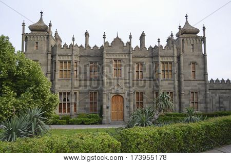 ALUPKA CRIMEA - MAY 162012: Facade of the Vorontsov Palace. Alupka. Crimea. It was built from 1828 to 1848 years. The summer residence of Count Mikhail Vorontsov