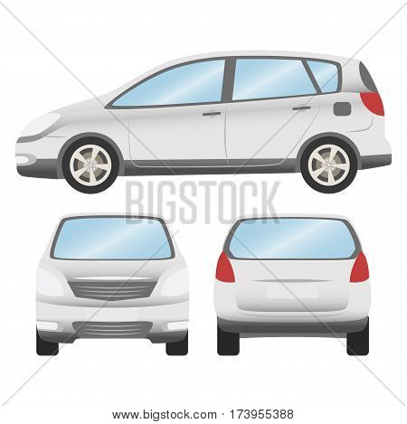 Car Vector Template On White Background. Hatchback Isolated. Business Design, White Hatchback Car.