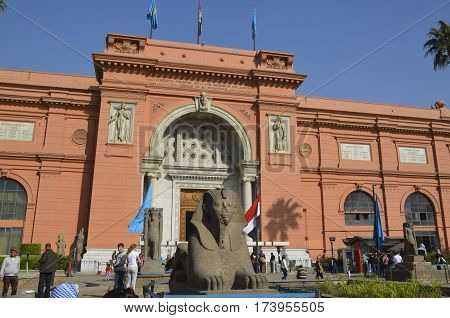 CAIRO EGYPT - January 22 2013: Appearance of the Egyptian National Museum. Egyptian Antiquities Museum one of the most famous museums in the world