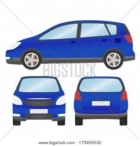 Car Vector Template On White Background. Hatchback Isolated. Business Design, Blue Hatchback Car.