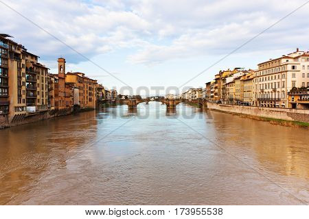 Florence Italy. River Arno and famous bridge (Firenze Toscana). poster
