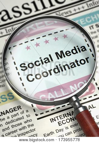 Social Media Coordinator - Searching Job in Newspaper. Column in the Newspaper with the Searching Job of Social Media Coordinator. Job Search Concept. Blurred Image with Selective focus. 3D.