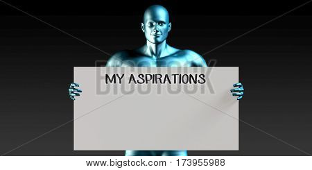 My Aspirations with a Man Carrying Reminder Sign 3D Illustration Render