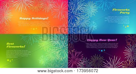 Happy holidays. Best fireworks party. Happy New Year. Salute elements. Fireworks festival. Vector illustration. Birthday celebration. Wedding, x-mas. Pyrotechnical background. Banner in flat style