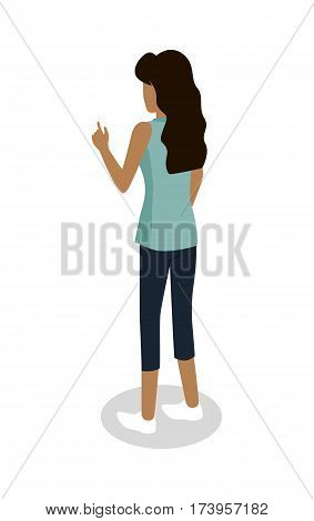 Street food buyer isolated. Woman in casual cloth points on something by finger. Cartoon character wants to buy a snack. Concept illustration for street food consumption. Back view. Fast food. Vector