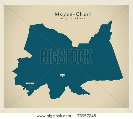 Modern Map - Moyen-Chari TD illustration silhouette
