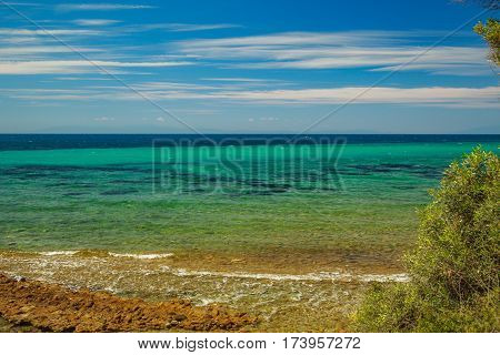 The Rocky Coast With Pine Tree Overlooking The Turquoise Blue Sea In Warm Summer Day.
