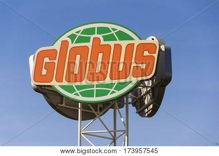 Prague, Czech Republic - February 25: Globus Hypermarket Company Logo In Front Of Store On February