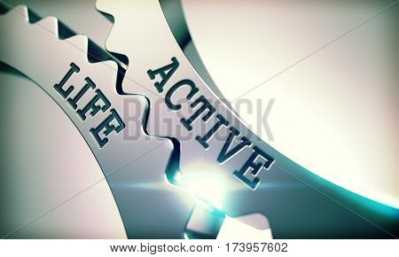 Active Life Metallic Gears - Communication Concept. with Glow Effect. 3D Render.