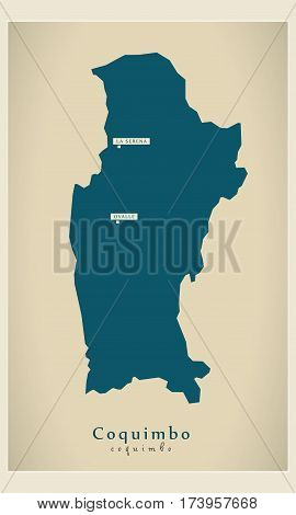 Modern Map - Coquimbo CL illustration silhouette