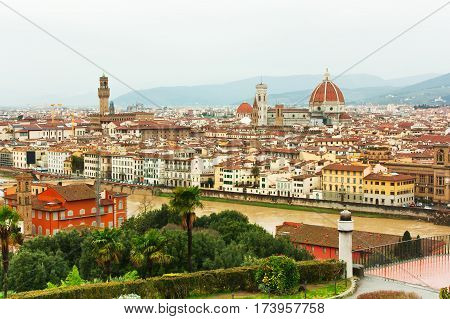 View of Firenze from Piazzale Michelangelo Florence Italy
