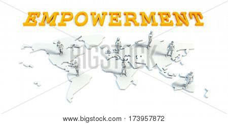Empowerment Concept with a Global Business Team 3D Illustration Render