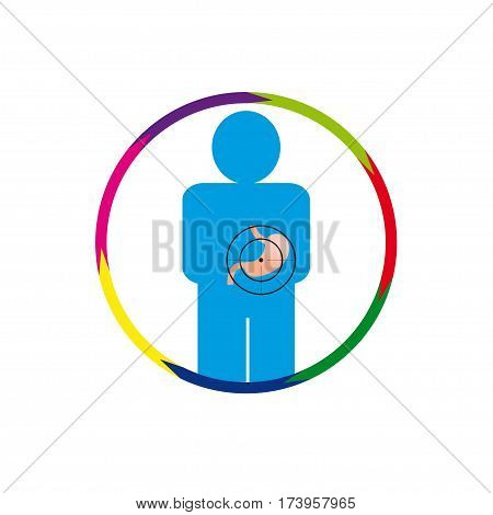 Vector illustration. The emblem logo. Stomach person at risk. Healthy lifestyle. human kontur. seven sections around. Different colors.