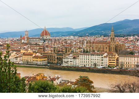View from above of Firenze river and bridges from Piazzale Michelangelo Florence Italy