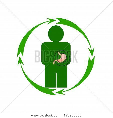 Vector illustration. The emblem logo. The human stomach is in danger. Healthy lifestyle. Human. Four arrows around. Different colors.