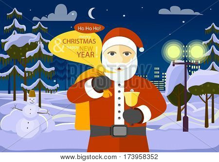 Merry Christmas and Happy New Year from Santa. He is among forest and white field on night city background. Dark block of flats with switched lights. Stars and moon on winter sky. Vector illustration.