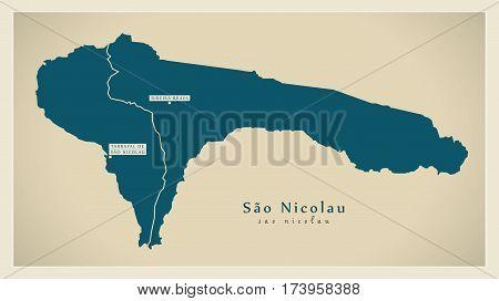 Modern Map - Sao Nicolau with municipalities CV
