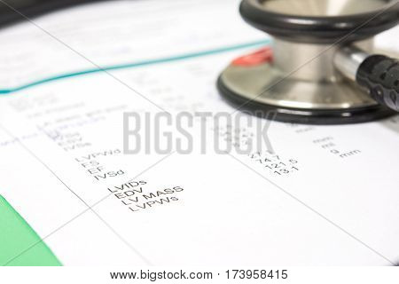 stethoscope on order exam sheet concept healthcare