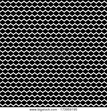 Vector monochrome seamless pattern, simple black & white geometric texture, dark illustration of mesh, smooth lattice, tissue structure. Repeat abstract background. Design for prints, decor, textile, fabric