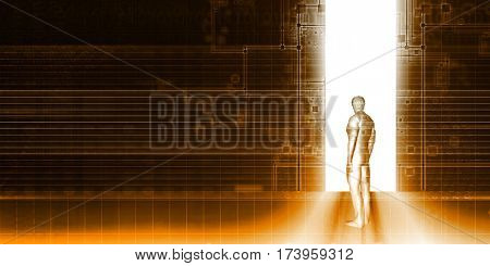 Man Standing In Front of Technology Portal as Background 3D Illustration Render