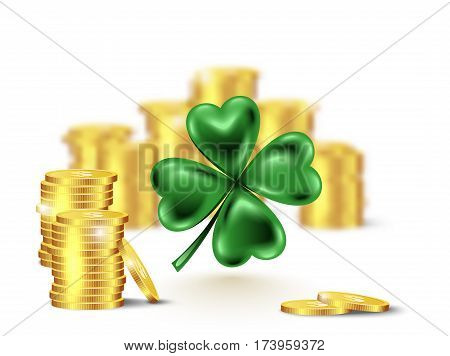 Green clover leaf vector illustration for St. Patrick day. Blured stack of coins and four-leaf on white background.