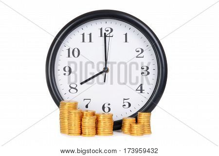 clock with gold coins time is money concept